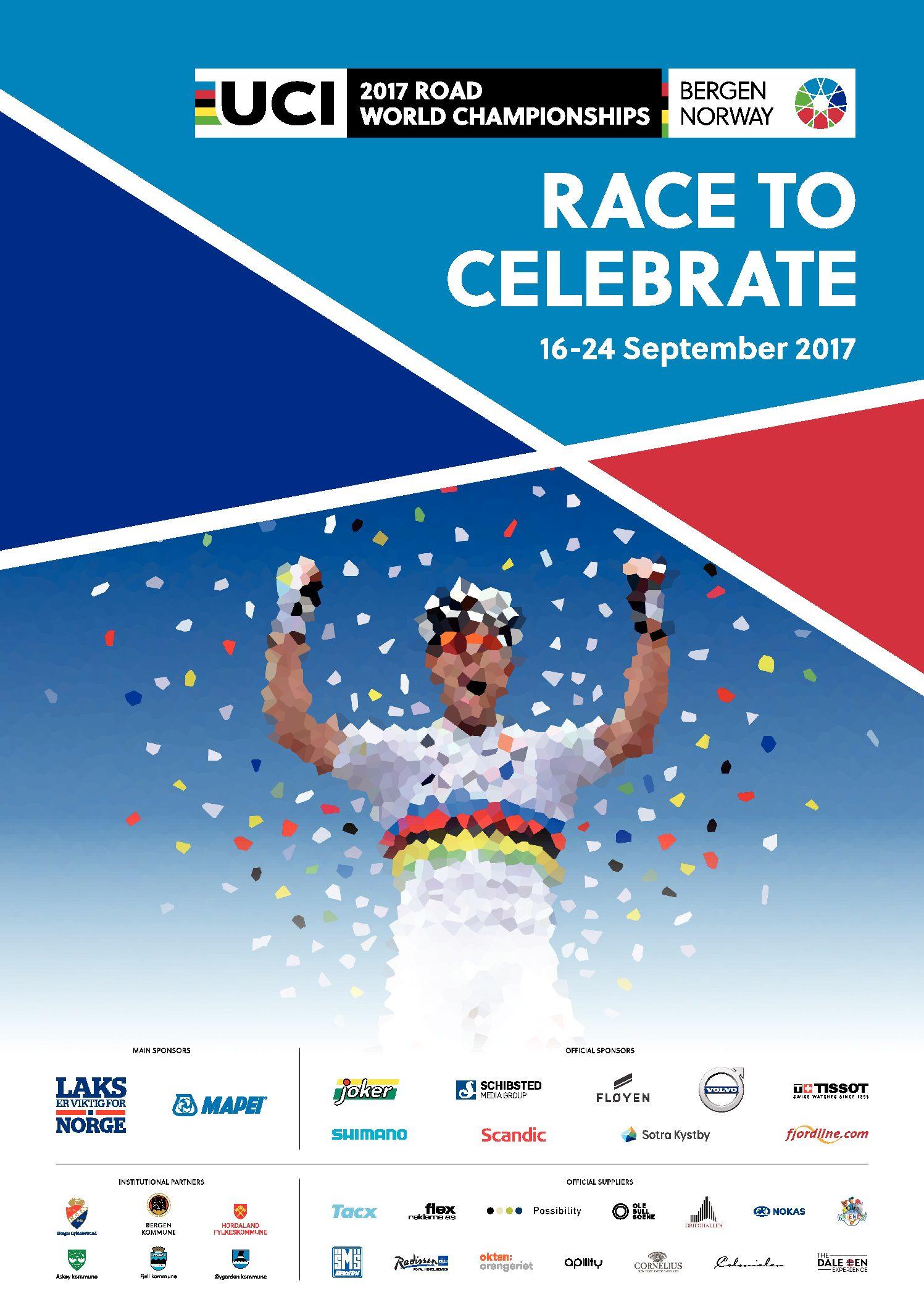 Mapei è UCI Main Sponsor dei Mondiali di Ciclismo 2017 Bergen, Norvegia, dal 16 al 24 settembre