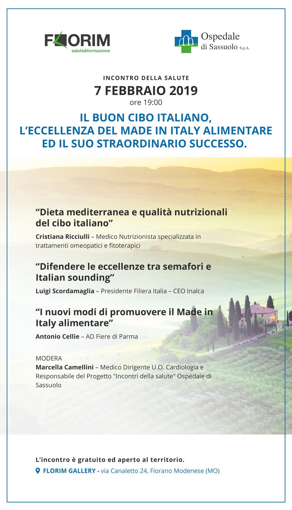 """FLORIM OSPITA L'INCONTRO  """"IL BUON CIBO ITALIANO, L'ECCELLENZA DEL MADE IN ITALY ALIMENTARE ED IL SUO STRAORDINARIO SUCCESSO"""""""