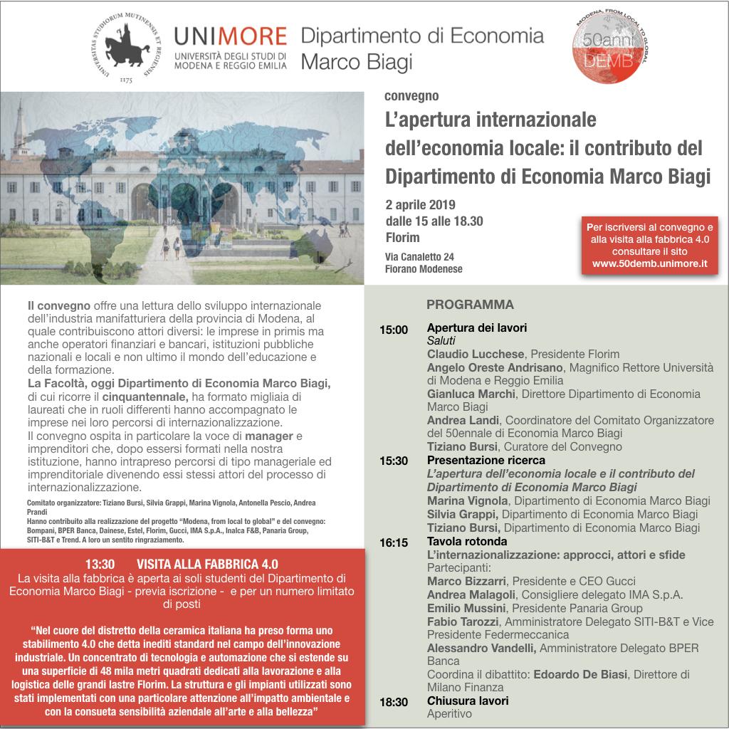 L'apertura internazionale dell'economia locale: il contributo del Dipartimento di Economia Marco Biagi