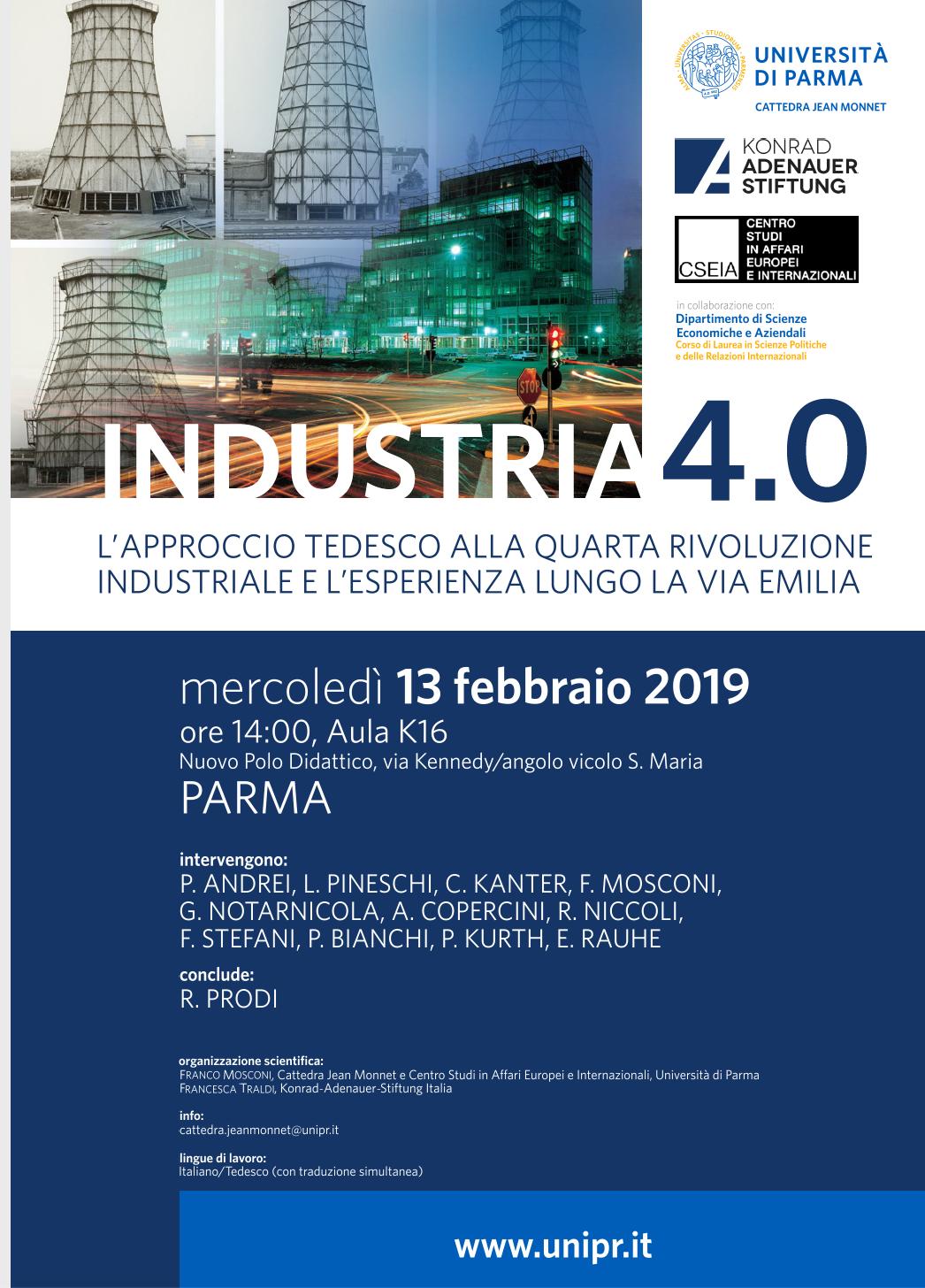"13 febbraio: seminario ""Industria 4.0: modello tedesco e modello emiliano a confronto"""